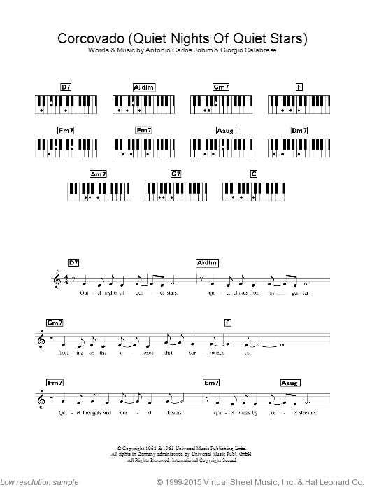 Corcovado (Quiet Nights Of Quiet Stars) sheet music for piano solo (chords, lyrics, melody) by Giorgio Calabrese