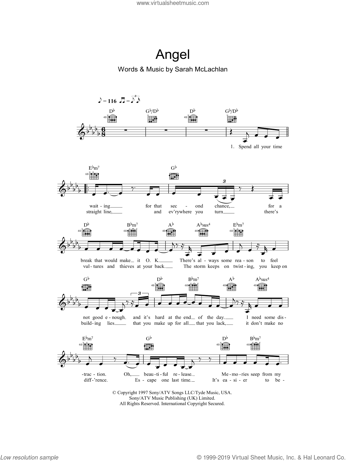 Angel sheet music for voice and other instruments (fake book) by Sarah McLachlan, intermediate. Score Image Preview.