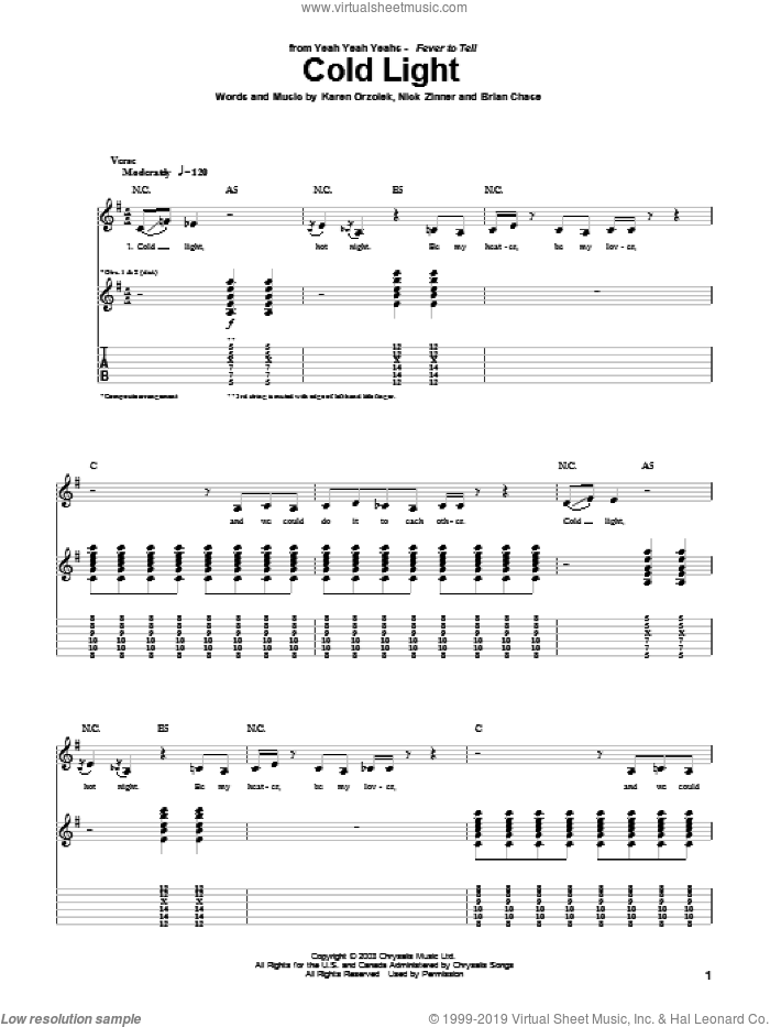 Cold Light sheet music for guitar (tablature) by Yeah Yeah Yeahs, intermediate guitar (tablature). Score Image Preview.