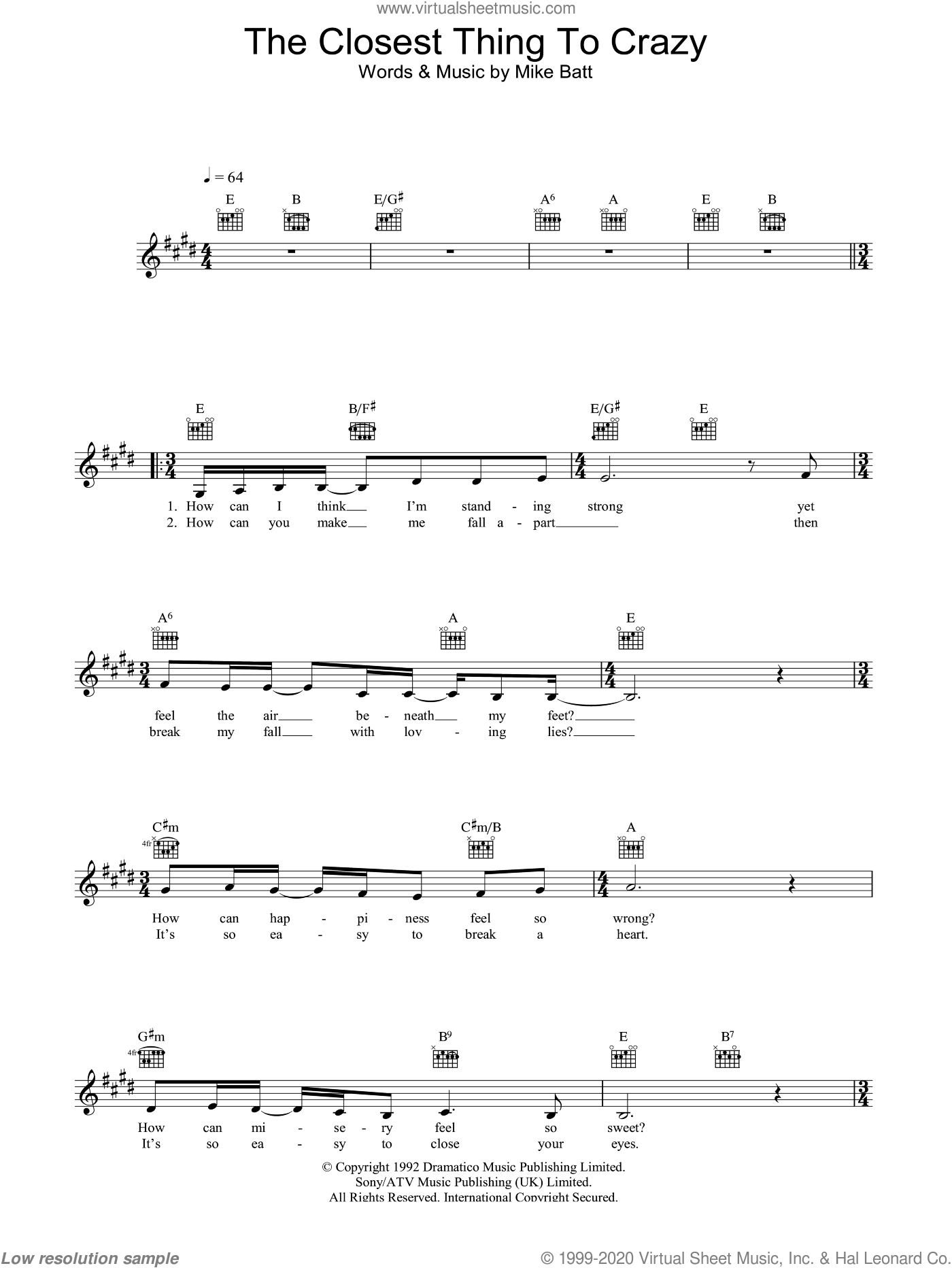 The Closest Thing To Crazy sheet music for voice and other instruments (fake book) by Katie Melua and Mike Batt. Score Image Preview.