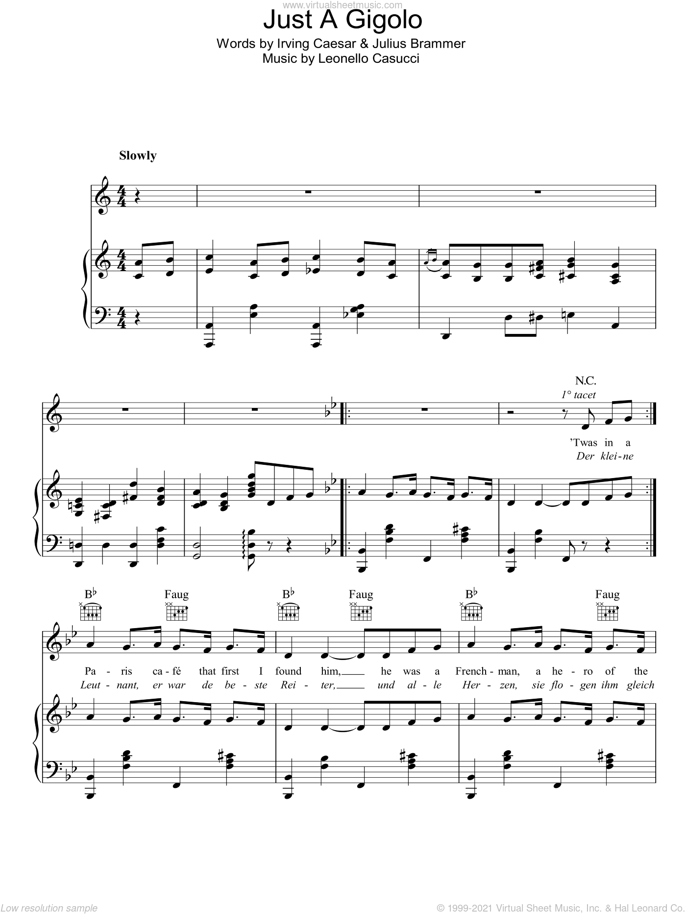 Just A Gigolo sheet music for voice, piano or guitar by Bing Crosby, Leonello Casucci, Irving Caesar and Julius Brammer, intermediate skill level