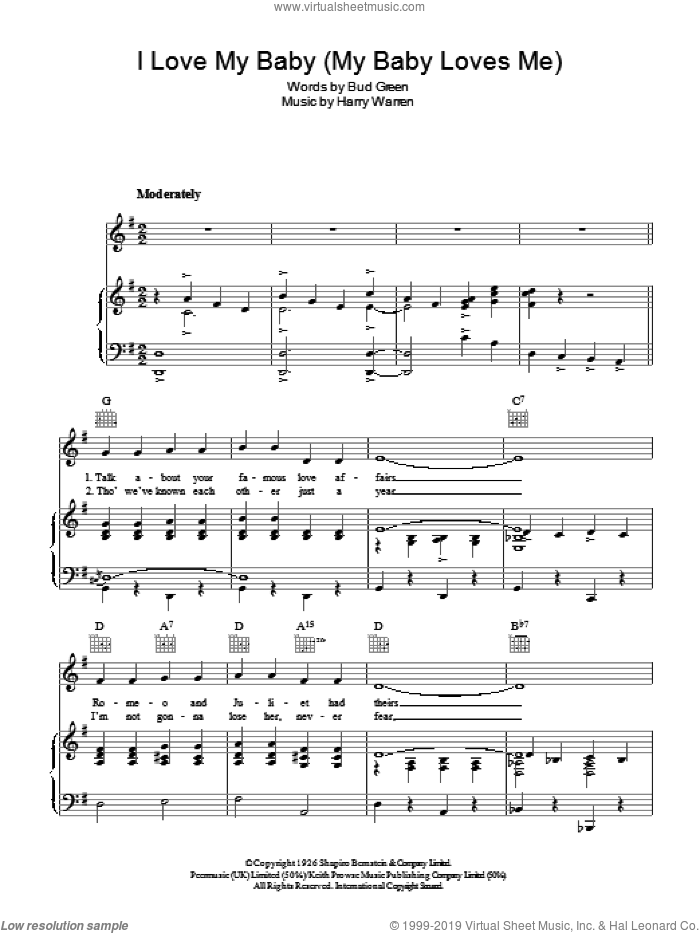 I Love My Baby (My Baby Loves Me) sheet music for voice, piano or guitar by Harry Warren and Bud Green, intermediate voice, piano or guitar. Score Image Preview.