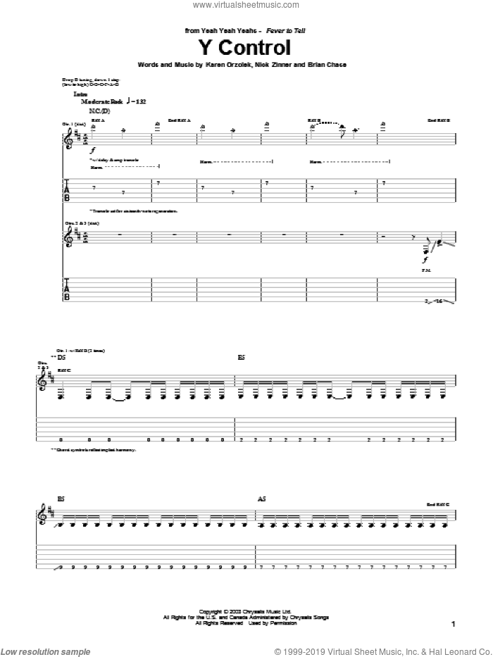 Y Control sheet music for guitar (tablature) by Nick Zinner, Yeah Yeah Yeahs and Brian Chase. Score Image Preview.