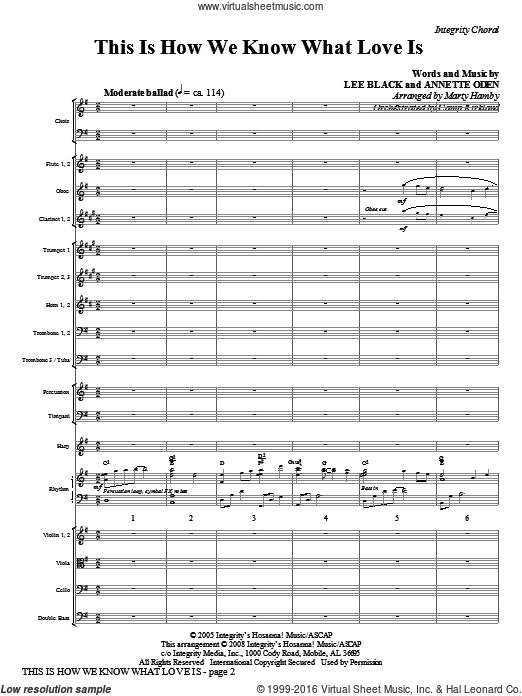 This Is How We Know What Love Is (COMPLETE) sheet music for orchestra by Marty Hamby, intermediate. Score Image Preview.