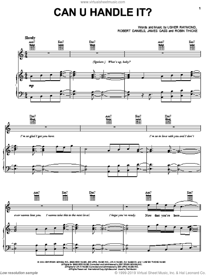 Can U Handle It? sheet music for voice, piano or guitar by Usher Raymond, Gary Usher, James Gass, Robert Daniels and Robin Thicke. Score Image Preview.