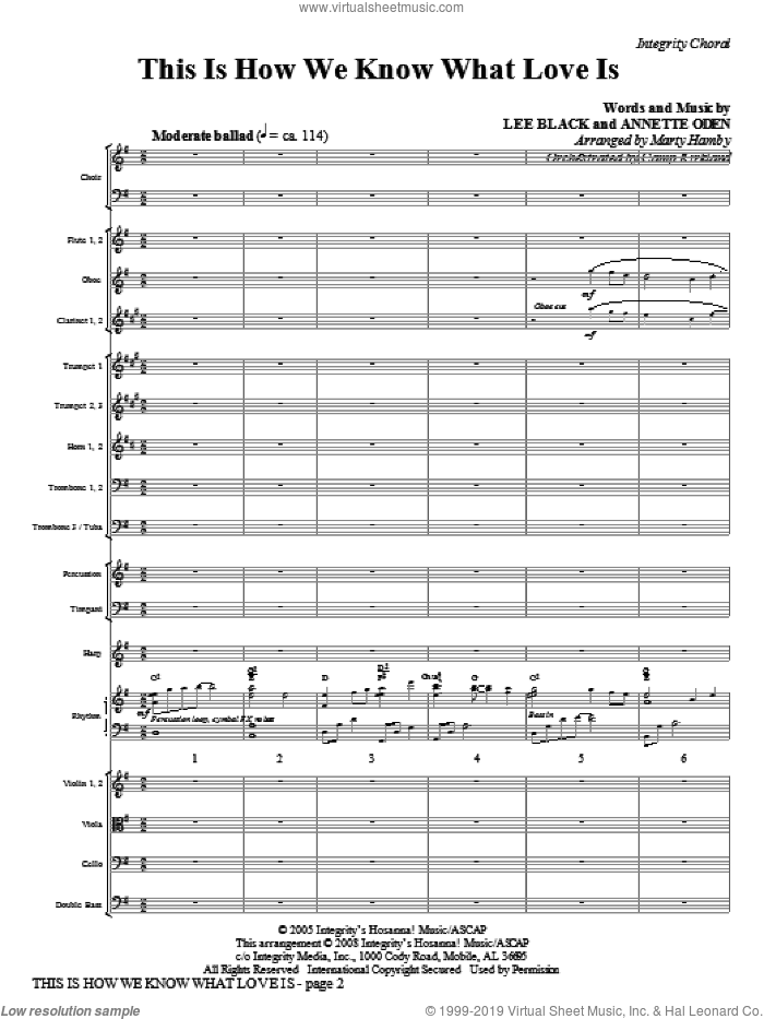 This Is How We Know What Love Is (COMPLETE) sheet music for orchestra/band (Orchestra) by Marty Hamby, Annette Oden and Lee Black, intermediate skill level