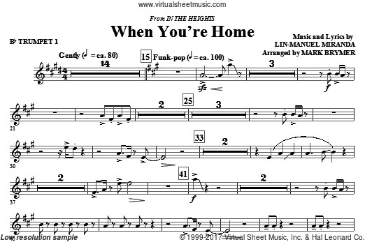 When You're Home (from In The Heights) (COMPLETE) sheet music for orchestra by Lin-Manuel Miranda