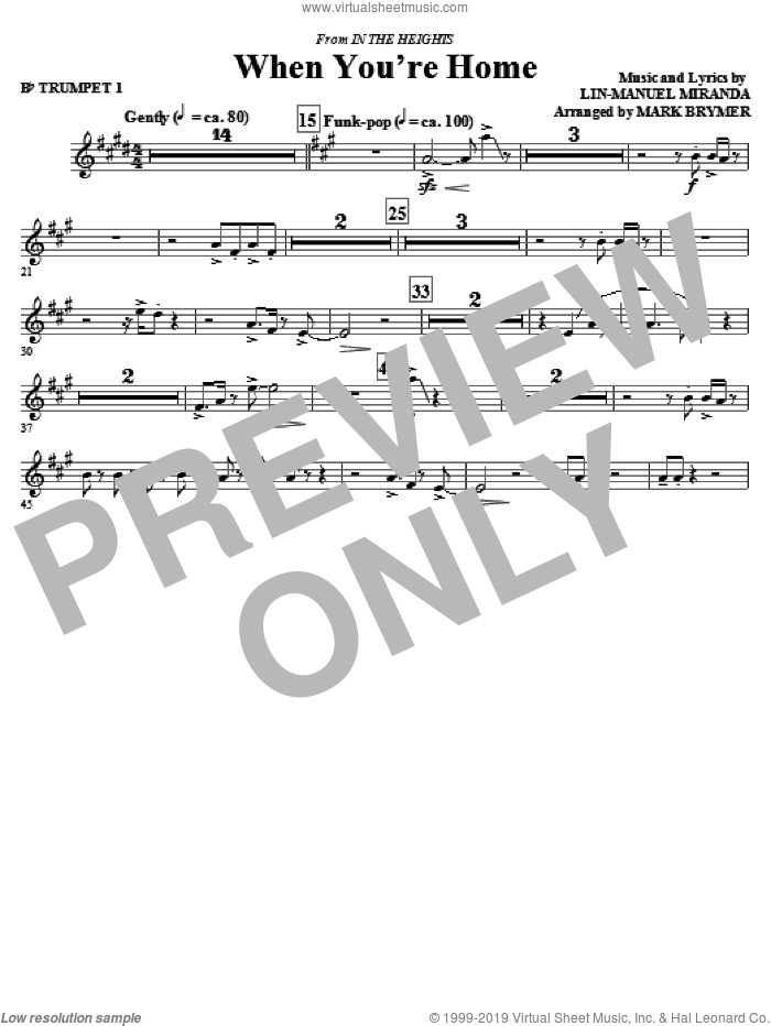 When You're Home (from In The Heights) (complete set of parts) sheet music for orchestra/band by Lin-Manuel Miranda and Mark Brymer, intermediate skill level