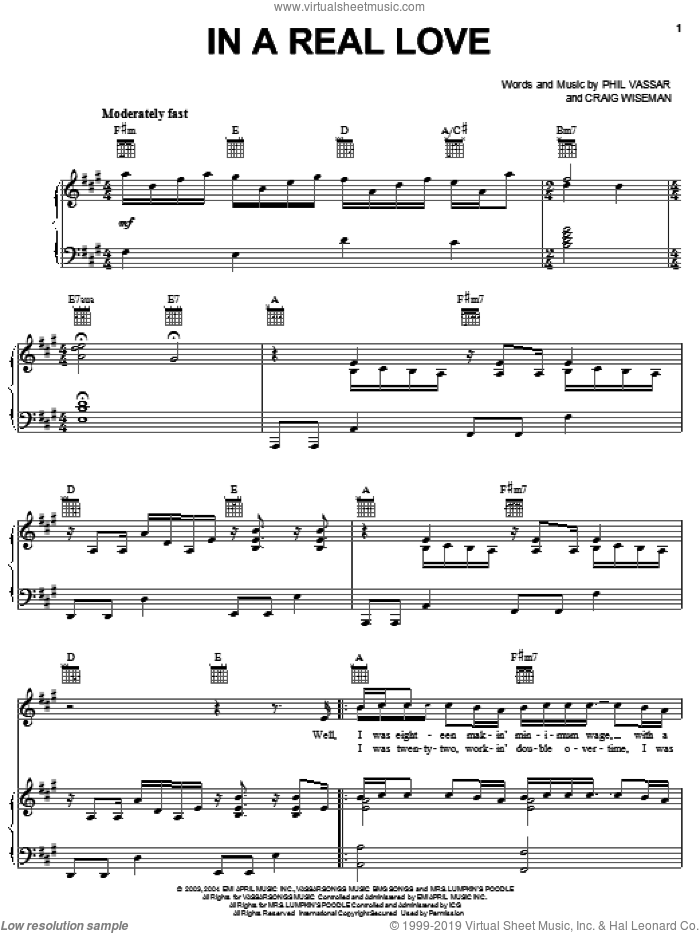 In A Real Love sheet music for voice, piano or guitar by Phil Vassar and Craig Wiseman, intermediate skill level