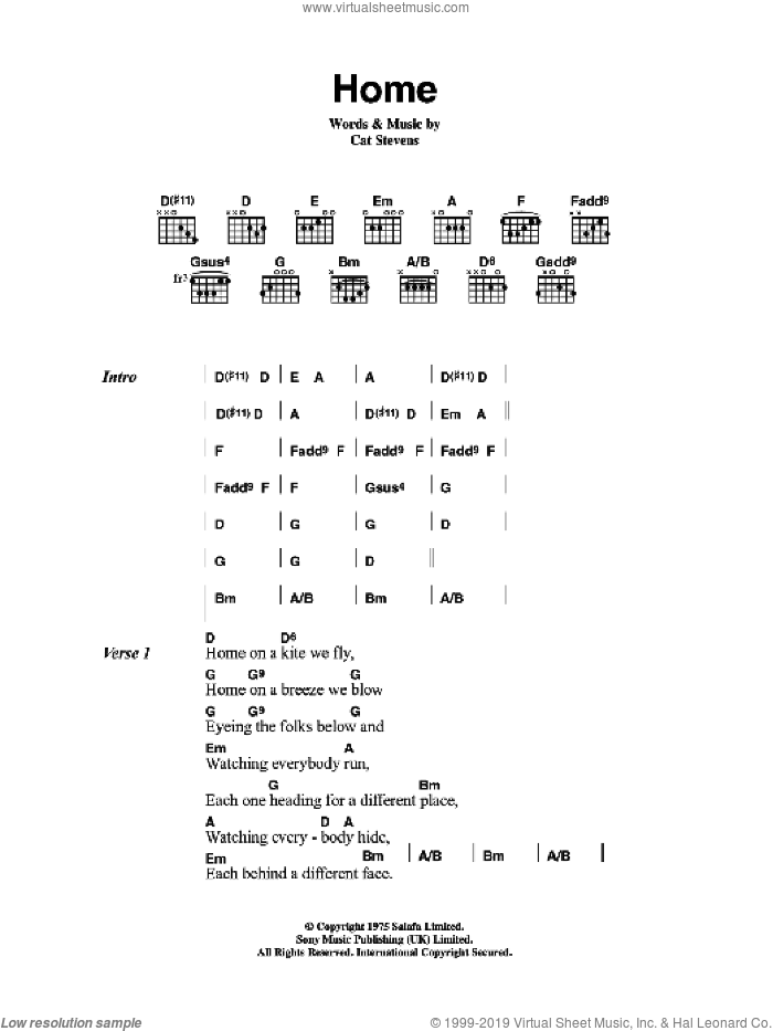 Home sheet music for guitar (chords) by Cat Stevens, intermediate guitar (chords). Score Image Preview.