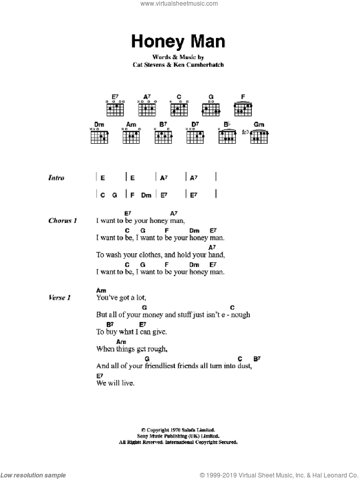 Honey Man sheet music for guitar (chords) by Ken Cumberbatch and Cat Stevens. Score Image Preview.