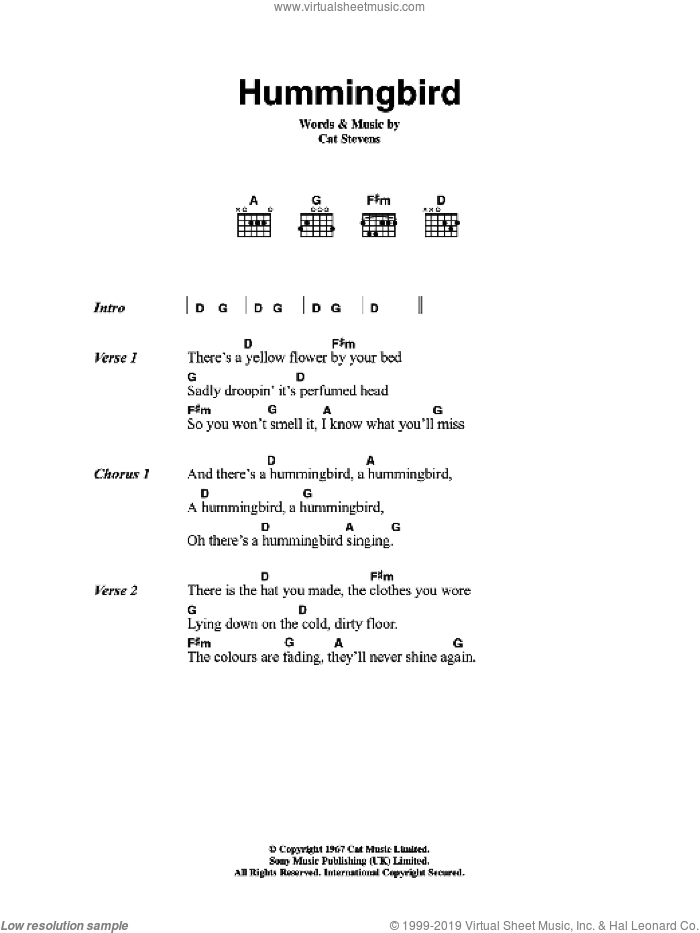 Hummingbird sheet music for guitar (chords) by Cat Stevens, intermediate skill level
