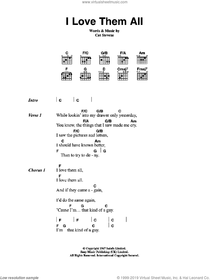 I Love Them All sheet music for guitar (chords) by Cat Stevens, intermediate. Score Image Preview.