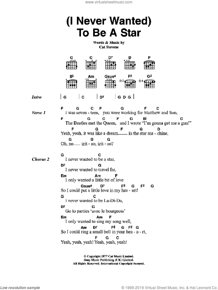(I Never Wanted) To Be A Star sheet music for guitar (chords) by Cat Stevens. Score Image Preview.