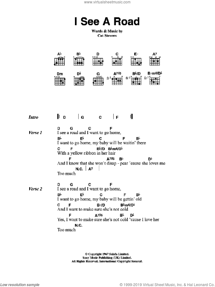 I See A Road sheet music for guitar (chords) by Cat Stevens