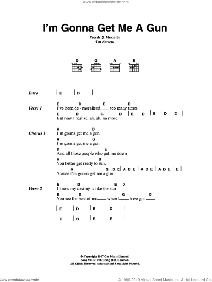 I'm Gonna Get Me A Gun sheet music for guitar (chords) by Cat Stevens. Score Image Preview.