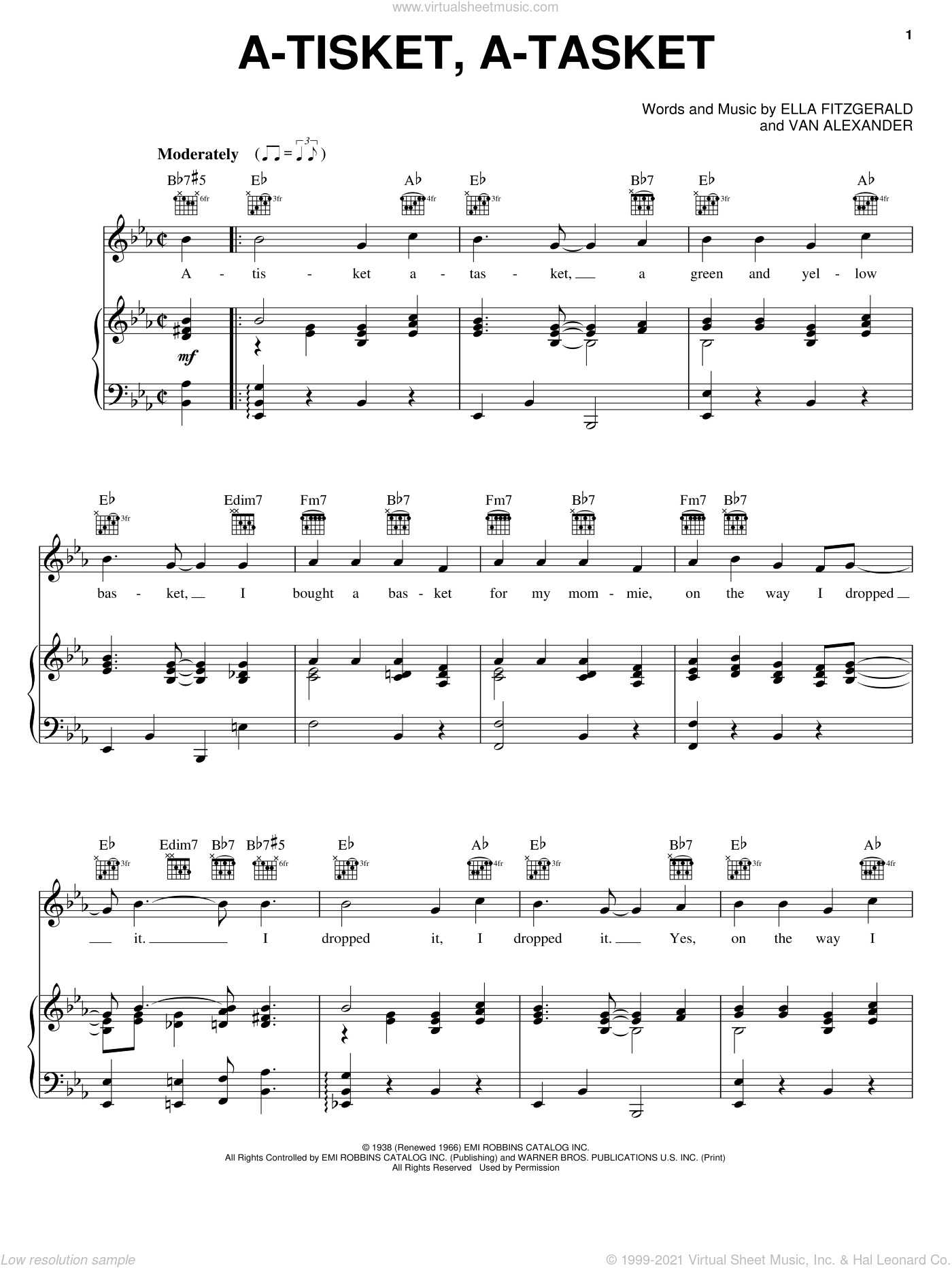 A-Tisket, A-Tasket sheet music for voice, piano or guitar by Van Alexander and Ella Fitzgerald. Score Image Preview.