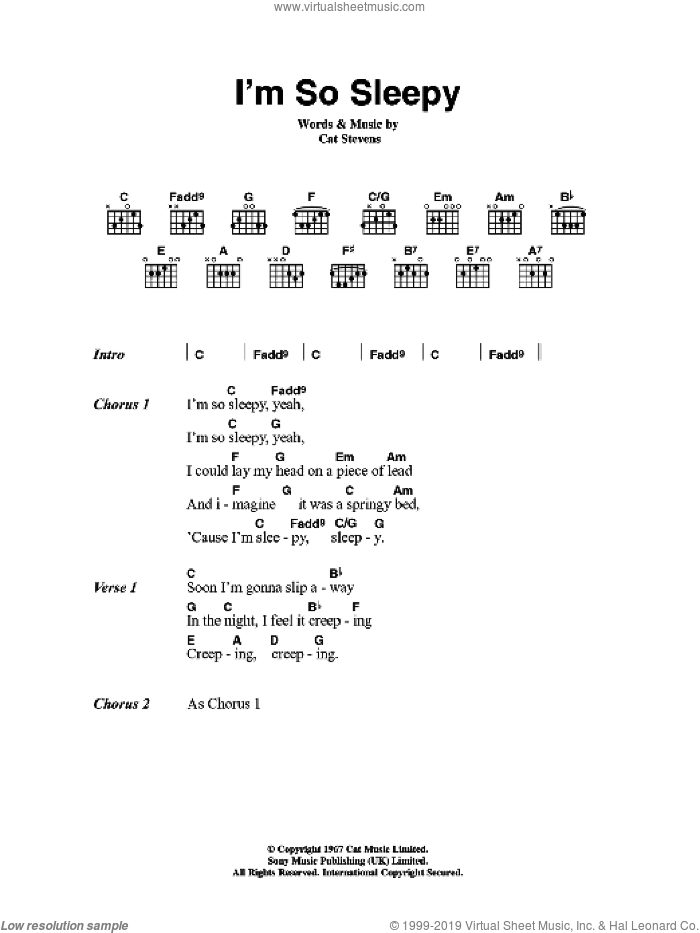 I'm So Sleepy sheet music for guitar (chords) by Cat Stevens, intermediate
