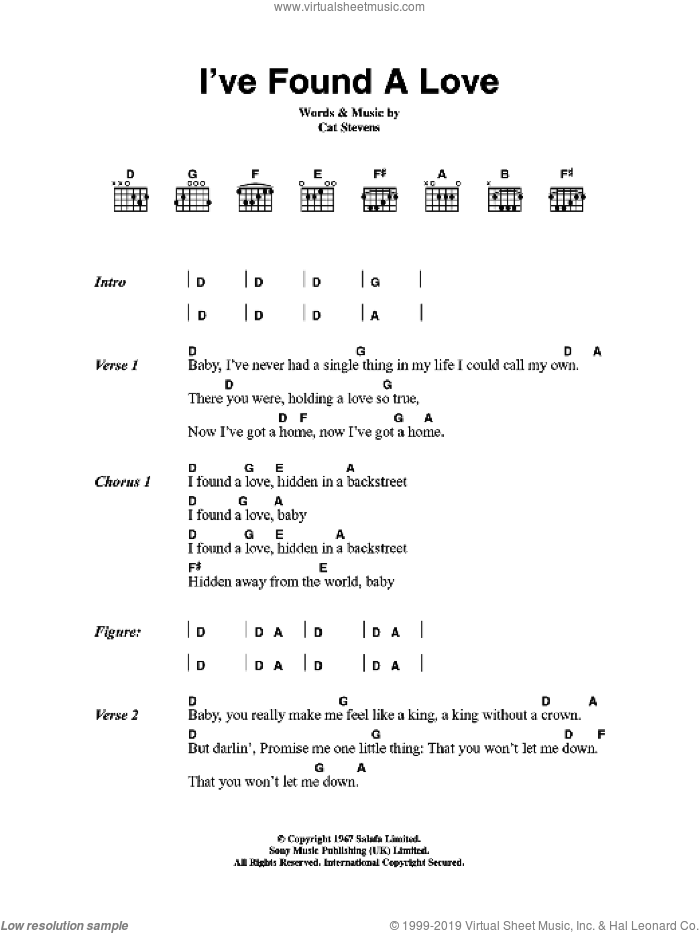 I've Found A Love sheet music for guitar (chords) by Cat Stevens, intermediate