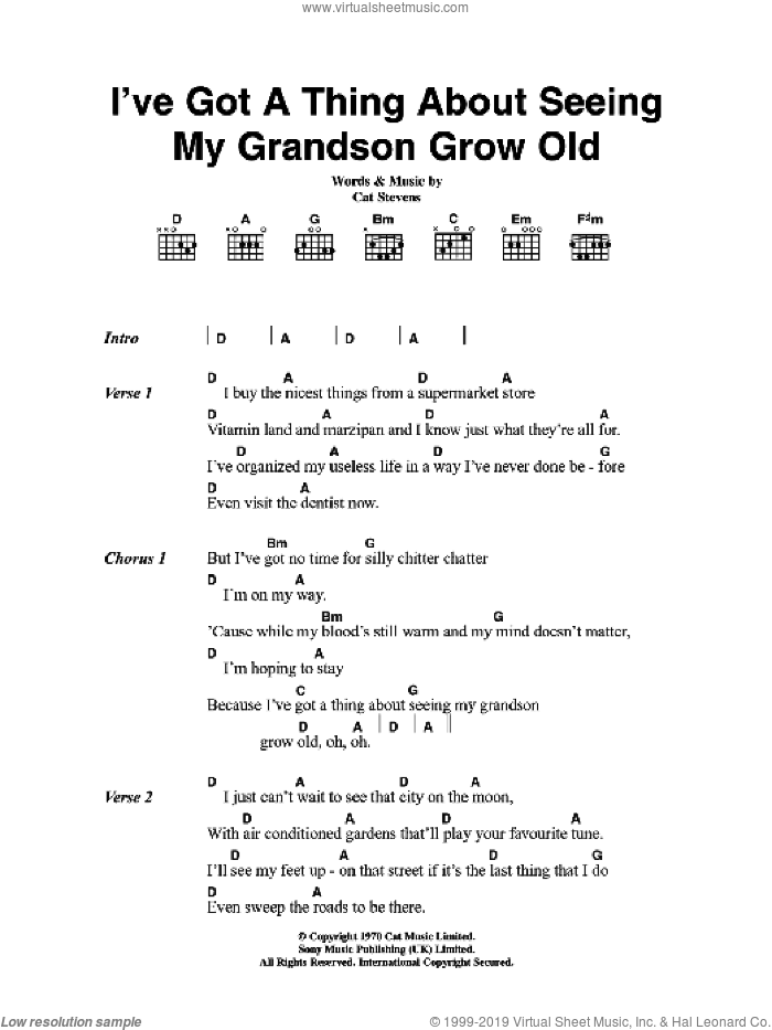 Stevens - I\'ve Got A Thing About Seeing My Grandson Grow Old sheet ...
