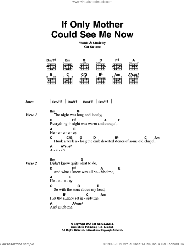 If Only Mother Could See Me Now sheet music for guitar (chords) by Cat Stevens. Score Image Preview.
