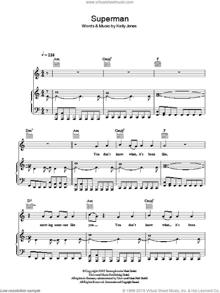 Superman sheet music for voice, piano or guitar by Kelly Jones and Stereophonics. Score Image Preview.