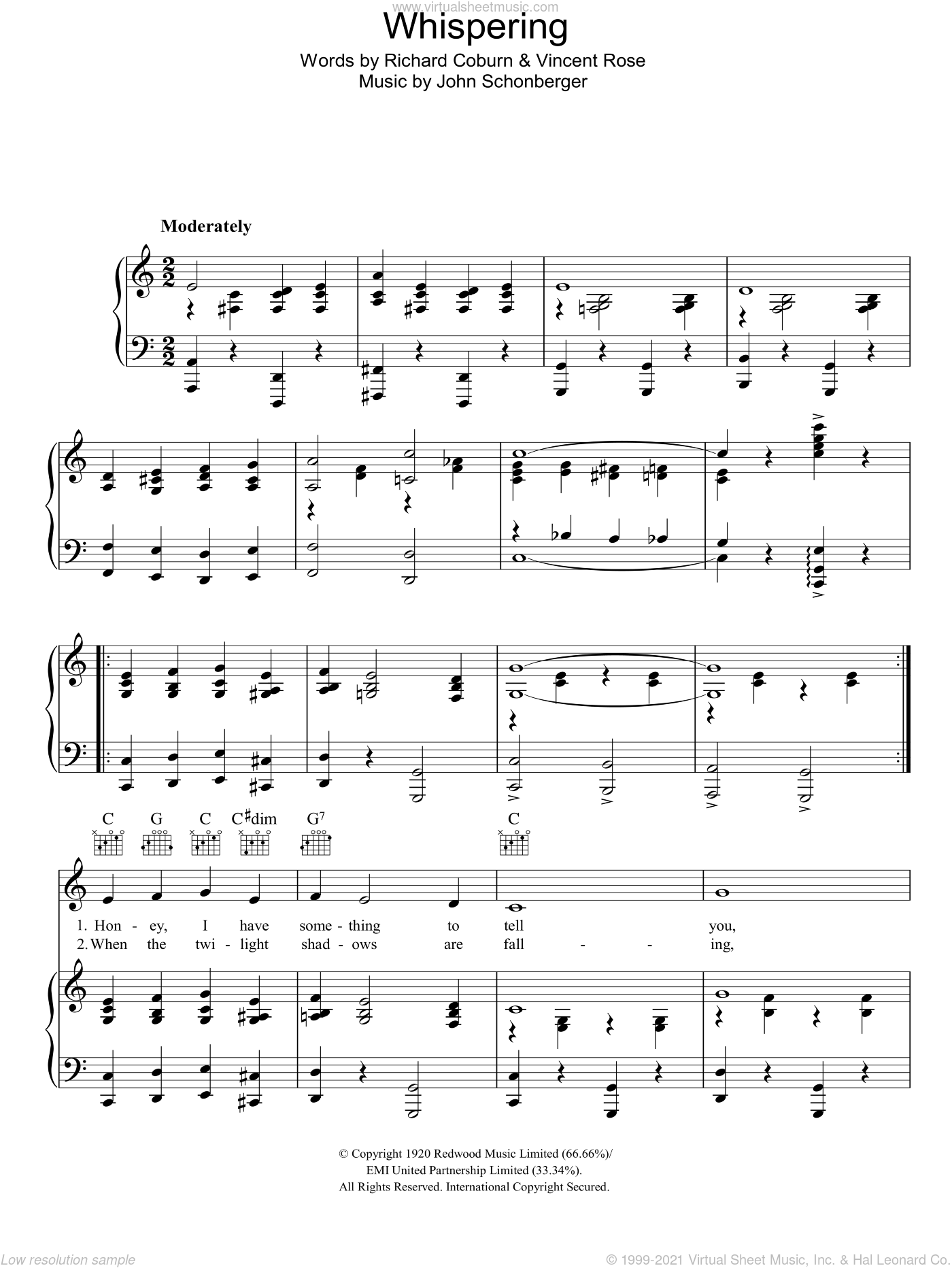 Whispering sheet music for voice, piano or guitar by Bing Crosby, John Schonberger, Richard Coburn and Vincent Rose, intermediate. Score Image Preview.