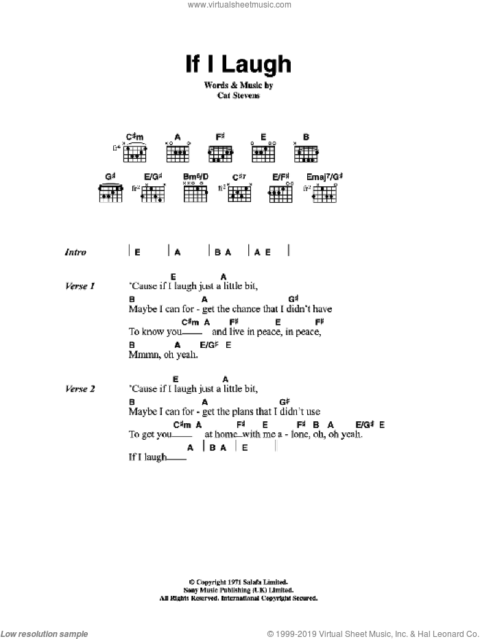 If I Laugh sheet music for guitar (chords) by Cat Stevens, intermediate