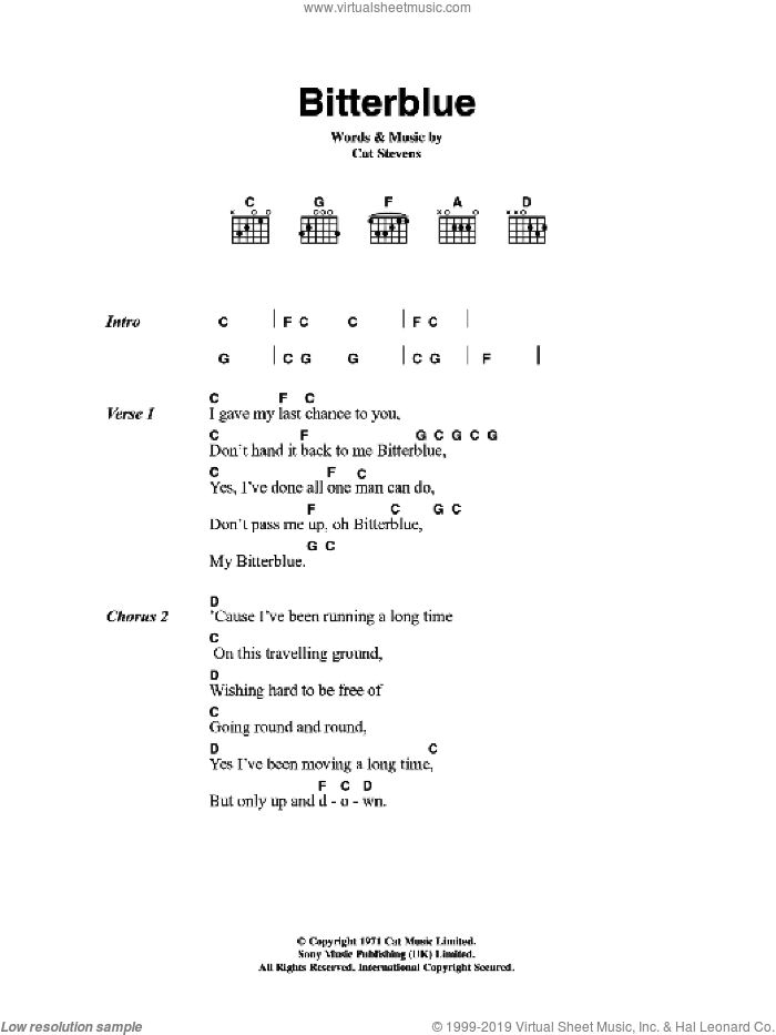 Bitterblue sheet music for guitar (chords) by Cat Stevens. Score Image Preview.