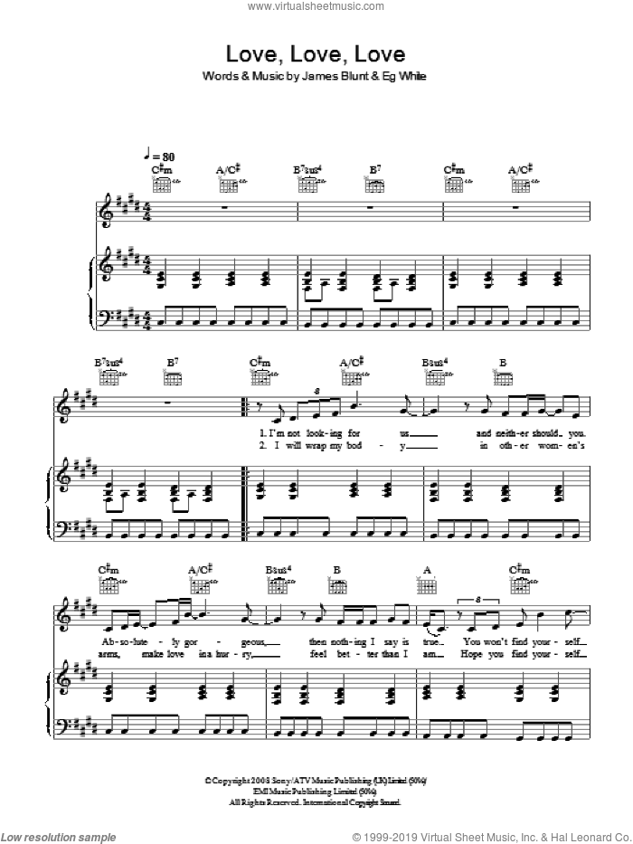 Love Love Love sheet music for voice, piano or guitar by James Blunt and Eg White, intermediate skill level