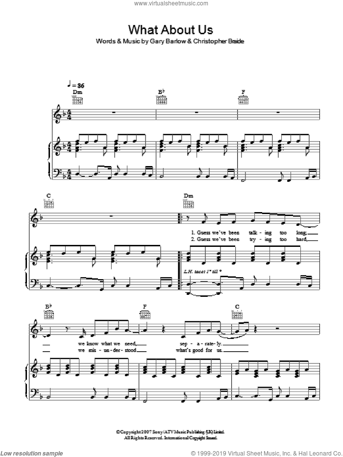 What About Us sheet music for voice, piano or guitar by Chris Braide and Gary Barlow. Score Image Preview.