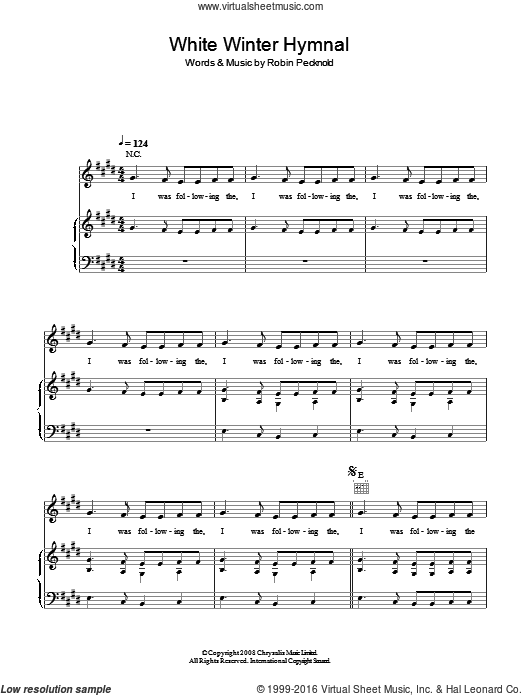White Winter Hymnal sheet music for voice, piano or guitar by Robin Pecknold and Fleet Foxes. Score Image Preview.
