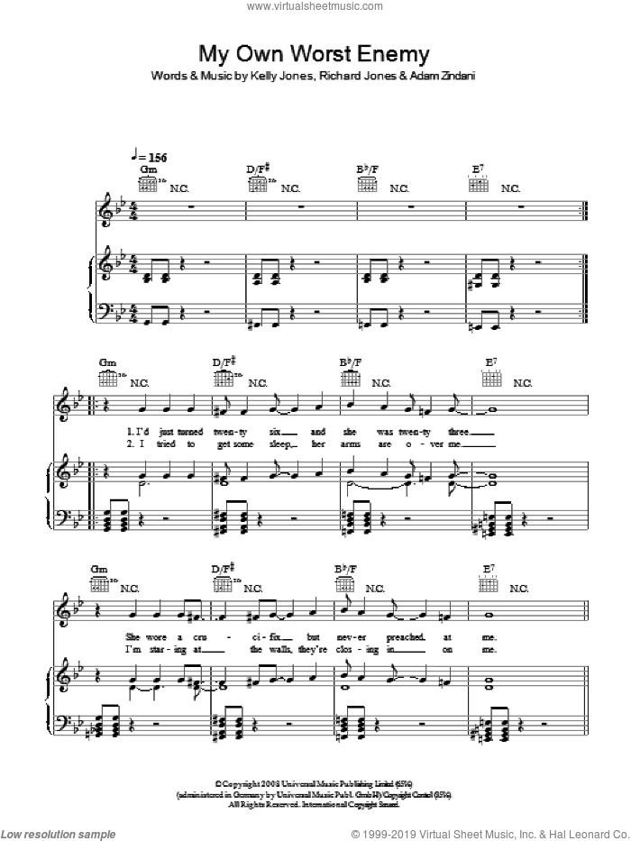 My Own Worst Enemy sheet music for voice, piano or guitar by Stereophonics. Score Image Preview.