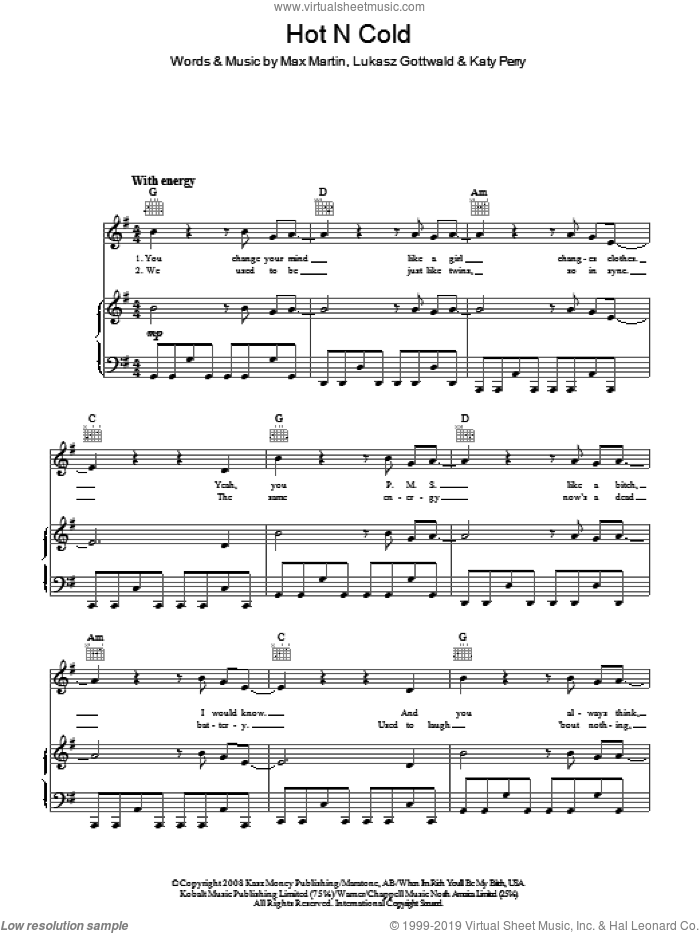 Hot N Cold sheet music for voice, piano or guitar by Katy Perry, Lukasz Gottwald and Max Martin, intermediate skill level