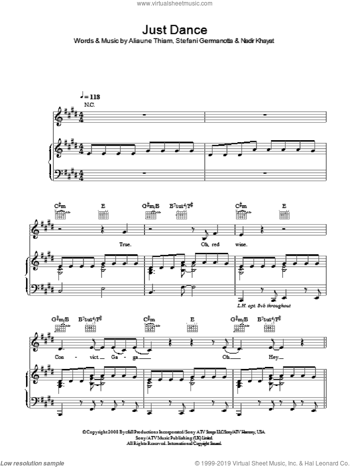 Just Dance sheet music for voice, piano or guitar by Lady GaGa, Aliaune Thiam and Nadir Khayat, intermediate skill level