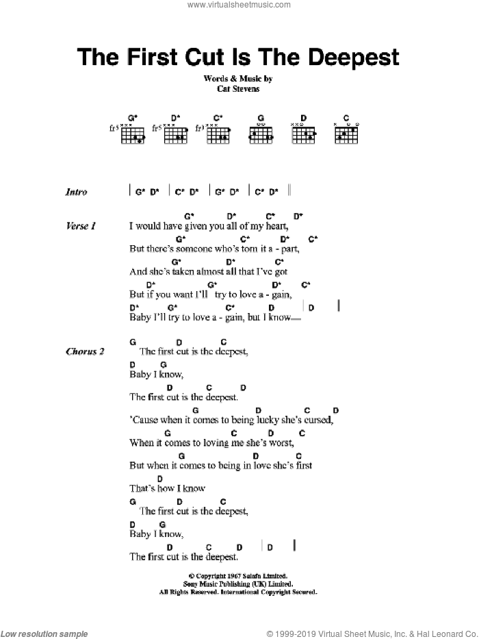The First Cut Is The Deepest sheet music for guitar (chords) by Cat Stevens, intermediate