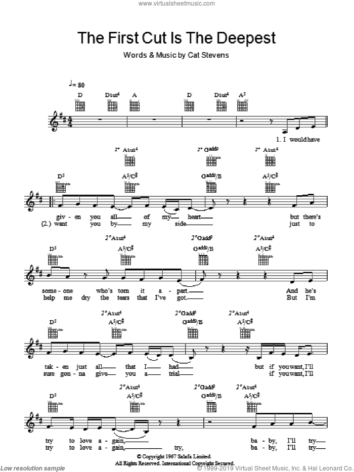 The First Cut Is The Deepest sheet music for voice and other instruments (fake book) by Sheryl Crow and Cat Stevens, intermediate voice. Score Image Preview.