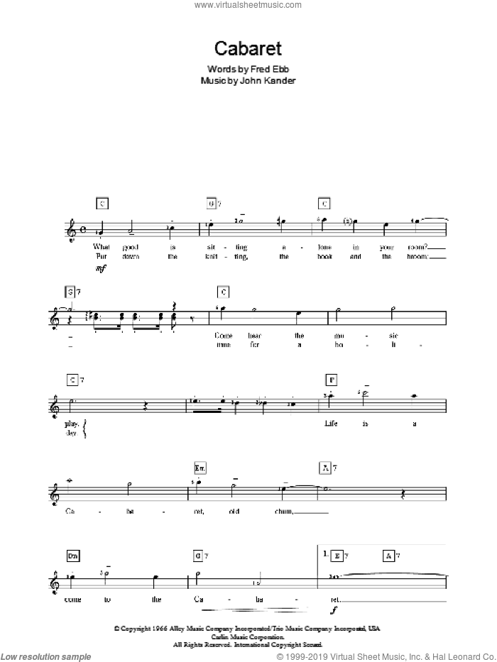 Cabaret sheet music for piano solo (chords, lyrics, melody) by Liza Minnelli, Cabaret (Musical), Kander & Ebb, Fred Ebb and John Kander, intermediate piano (chords, lyrics, melody)