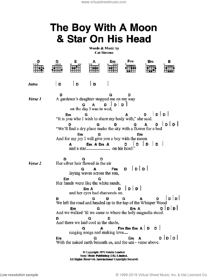 The Boy With The Moon And Star On His Head sheet music for guitar (chords) by Cat Stevens, intermediate skill level