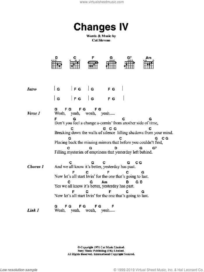 Changes IV sheet music for guitar (chords) by Cat Stevens. Score Image Preview.