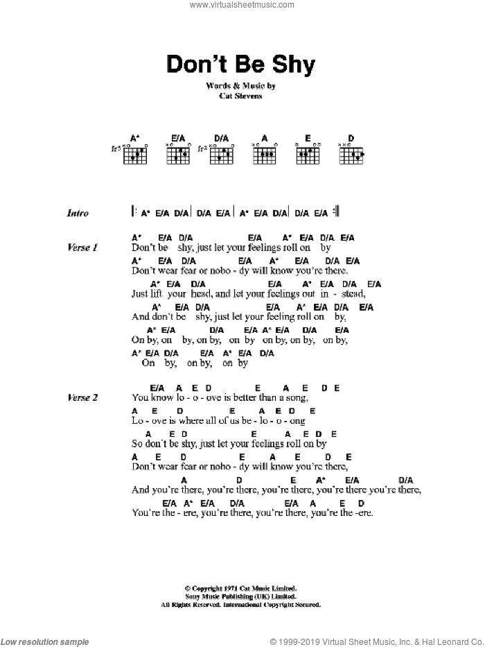 Don't Be Shy sheet music for guitar (chords) by Cat Stevens. Score Image Preview.
