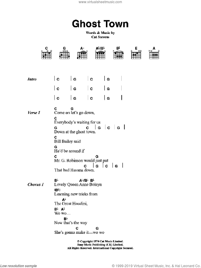 Ghost Town sheet music for guitar (chords) by Cat Stevens, intermediate