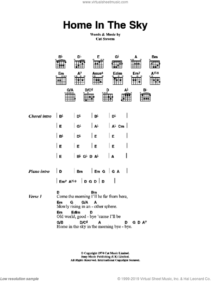 Home In The Sky sheet music for guitar (chords) by Cat Stevens, intermediate guitar (chords). Score Image Preview.
