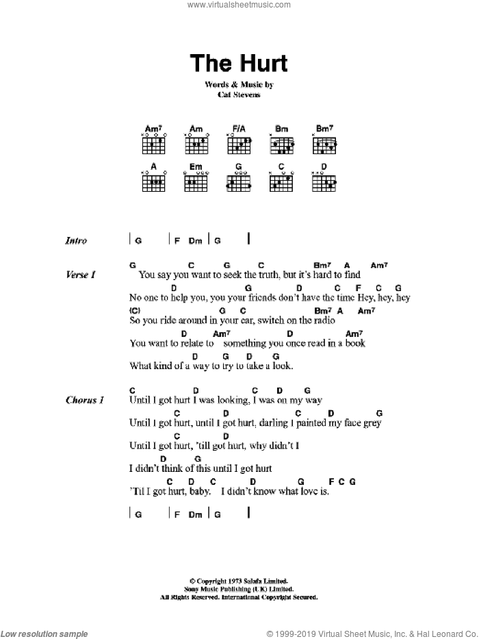The Hurt sheet music for guitar (chords) by Cat Stevens, intermediate. Score Image Preview.