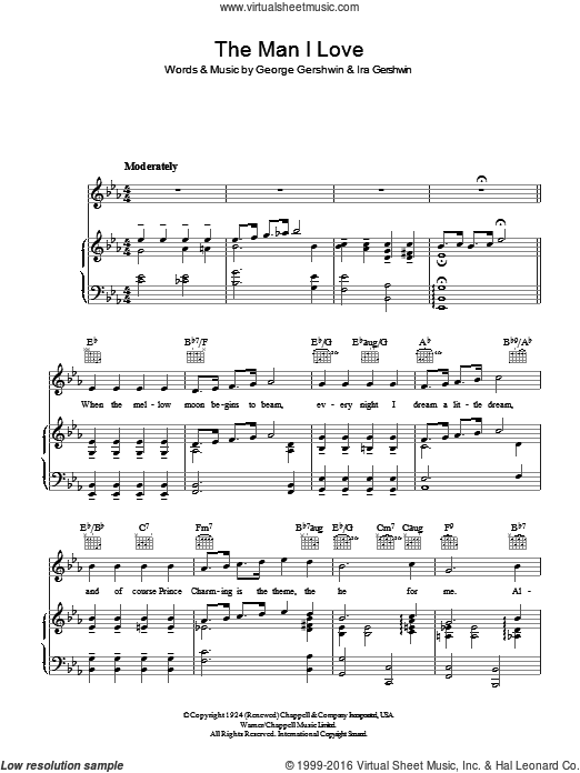 The Man I Love sheet music for voice, piano or guitar by George Gershwin and Ira Gershwin, intermediate voice, piano or guitar. Score Image Preview.