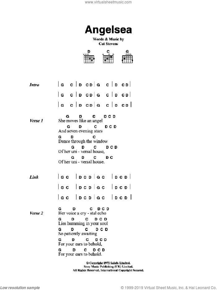 Angelsea sheet music for guitar (chords) by Cat Stevens, intermediate guitar (chords). Score Image Preview.