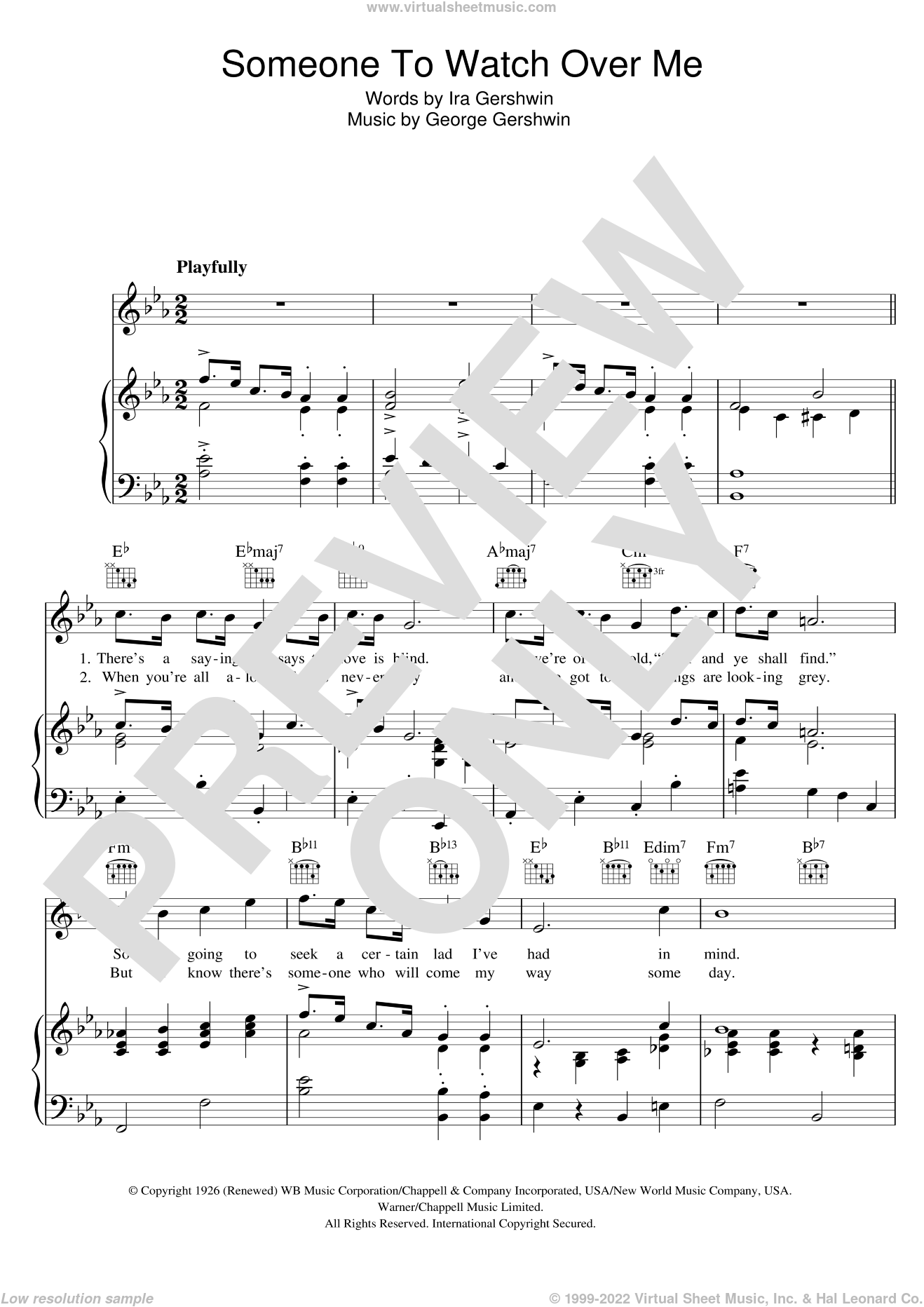 Someone To Watch Over Me sheet music for voice, piano or guitar by Ira Gershwin and George Gershwin. Score Image Preview.