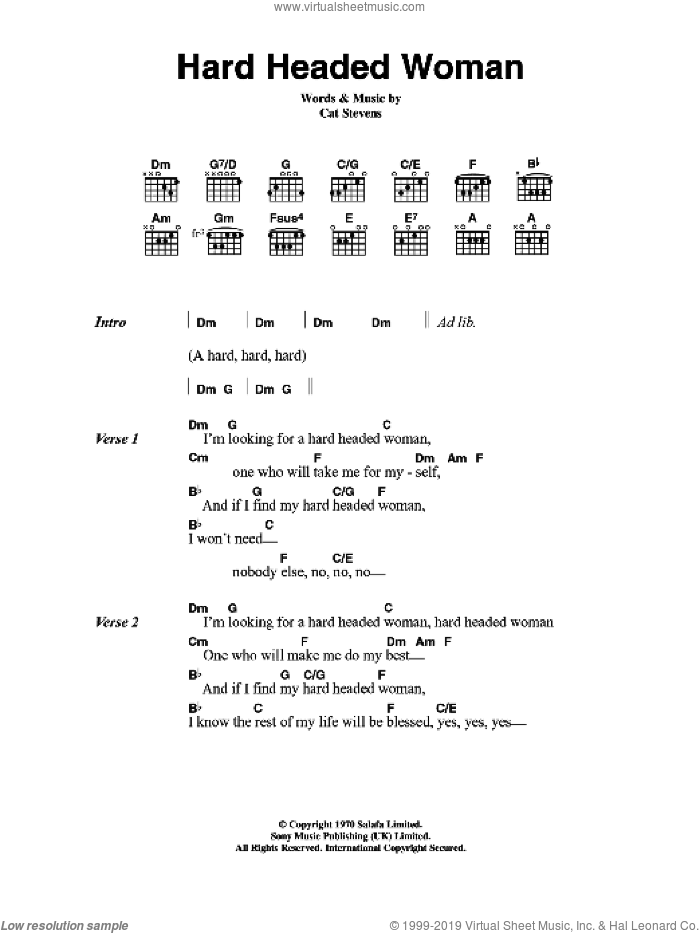Hard Headed Woman sheet music for guitar (chords) by Cat Stevens. Score Image Preview.