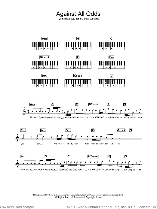 Against All Odds (Take A Look At Me Now) sheet music for piano solo (chords, lyrics, melody) by Phil Collins