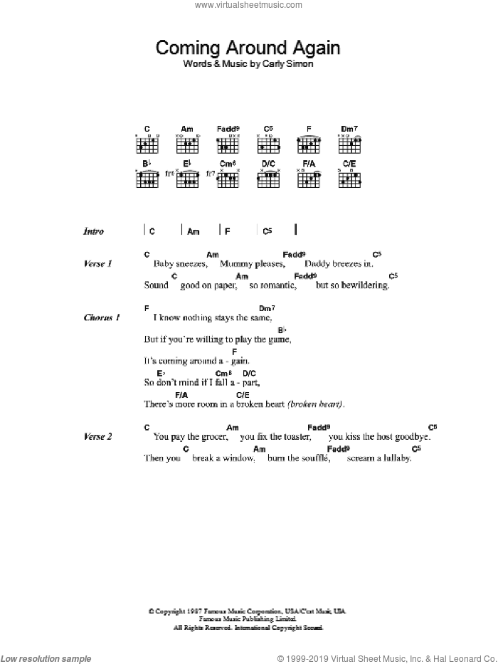 Coming Around Again sheet music for guitar (chords) by Carly Simon, intermediate skill level